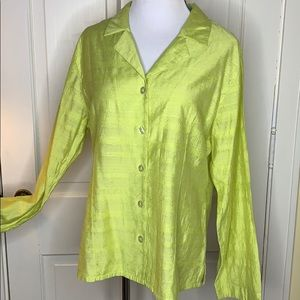 Chico's yellow jacket/blouse w white buttons Large